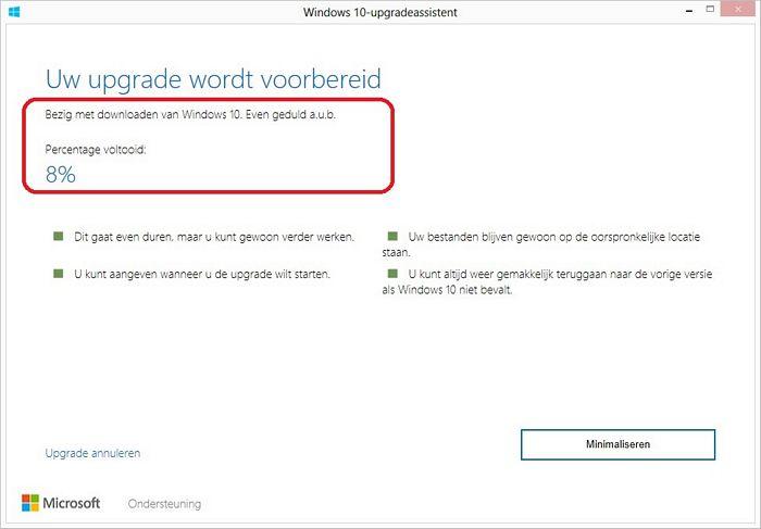 windows 10 upgrade-assistant blijft steken op 99
